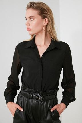 TRENDYOLMİLLA Siyah Kol Detaylı Gömlek TWOAW20GO0116 1