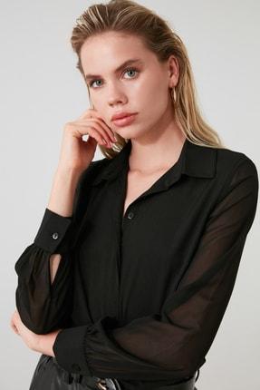 TRENDYOLMİLLA Siyah Kol Detaylı Gömlek TWOAW20GO0116 2