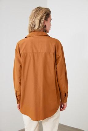 TRENDYOLMİLLA Camel Boyfriend Gömlek TWOAW20GO0115 3