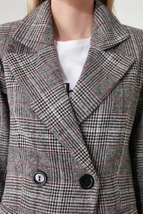 TRENDYOLMİLLA Gri Kareli Blazer Ceket TWOAW20CE0201 4