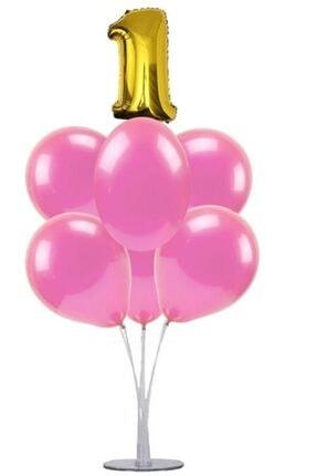 KullanAtParty Altın Beyaz Pembe 4 Yaş Doğum Günü Temalı Balon Standı 2