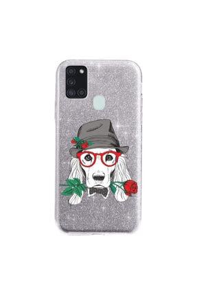 Cekuonline Samsung Galaxy A21s Kılıf Simli Shining Desenli Silikon Gümüş Gri - Stok818 - Aşk Köpeği 0