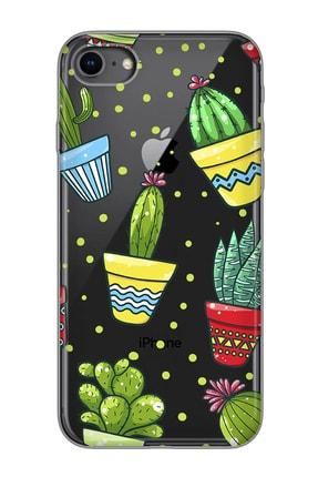 Mobilteam Apple Iphone 8 Siyah Baskılı Silikon Telefon Kılıfı 0