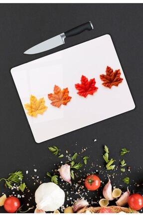 Pi Dekorasyon Renkli Yapraklar | Cam Kesme Tahtası | 25 Cm X 35 Cm 0