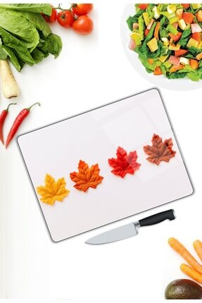 Pi Dekorasyon Renkli Yapraklar | Cam Kesme Tahtası | 25 Cm X 35 Cm 2
