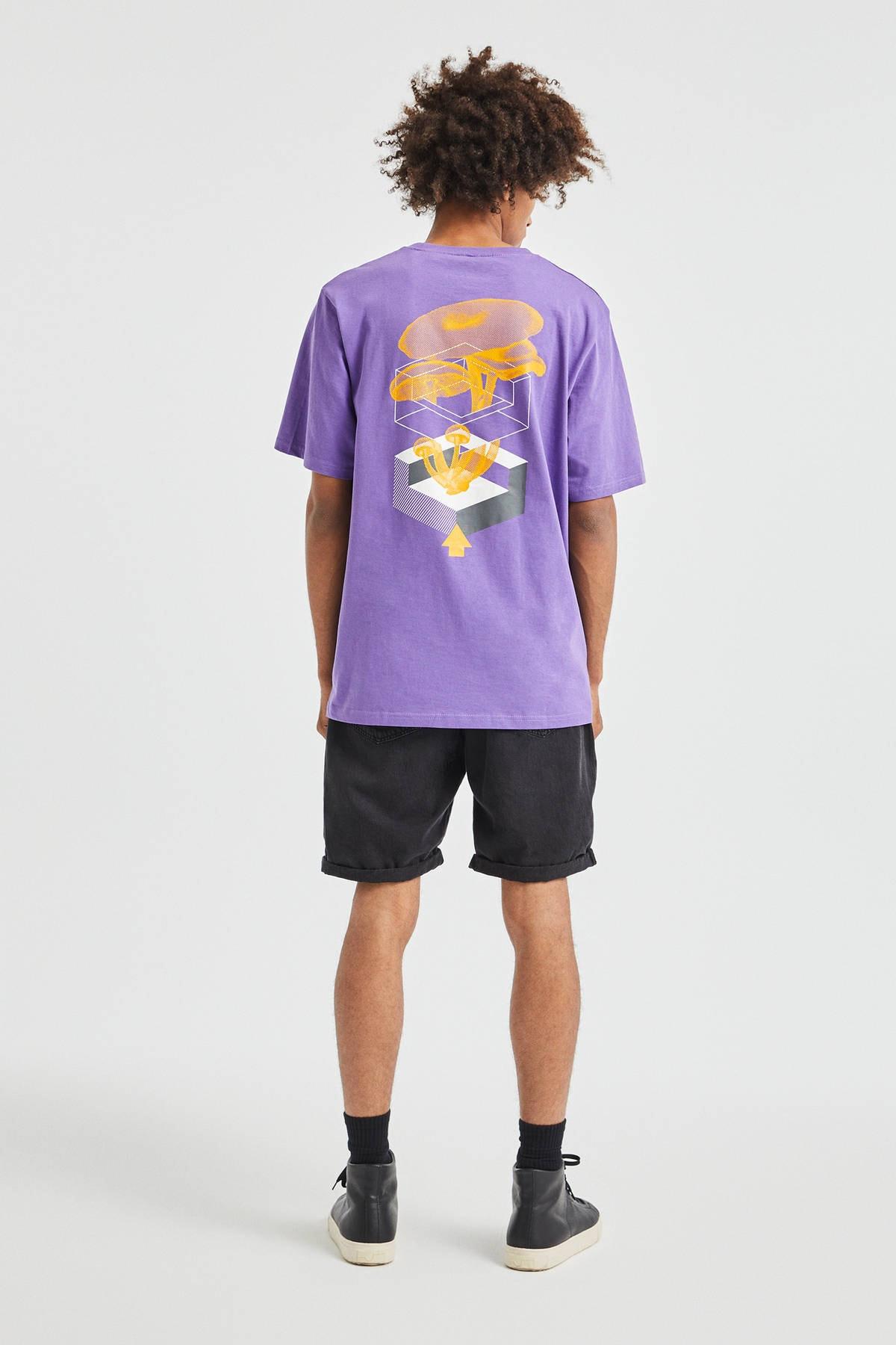 Pull & Bear Erkek Koyu Mor 3D Küp Desenli T-Shirt 09247566 1