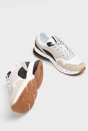 Bershka Kadın Bej Kontrast Spor Ayakkabı 4