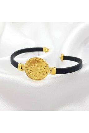 altınplaza Reşat Tuğra Baskılı Deri Kordonlu Altın Bileklik 2
