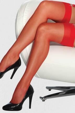 jibau Kadın Kırmızı Fantezi Jartiyer Çorap 0