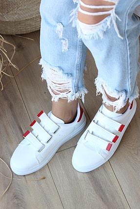 Pembe Potin Kadın Beyaz Kırmızı Desenli Ayakkabı 1