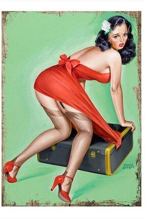 Tablomega Kırmızı Elbiseli Kadın Modern Mdf Tablo 35cm X 50cm 0