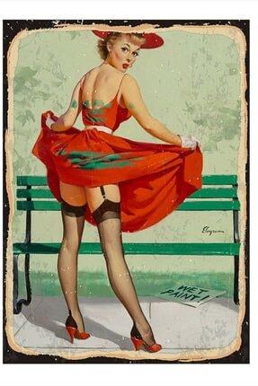 Tablomega Kırmızı Elbiseli Kadın Desenli Mdf Tablo 50cm X 70cm 0