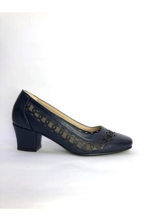 Büşra Sultan Ayakkabı Lazerli Fileli Topuklu Ayakkabı Lacivert 0