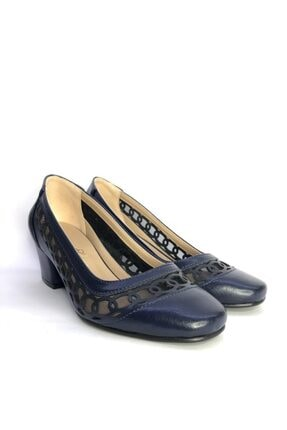 Büşra Sultan Ayakkabı Lazerli Fileli Topuklu Ayakkabı Lacivert 3