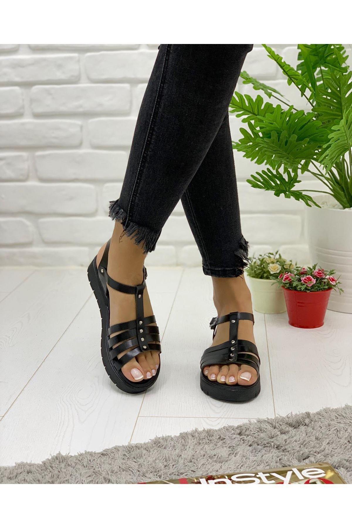 Pabuç Kadın Siyah Berlin Sandalet