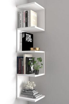 dekoronya Ivy Zig Zag Köşe Duvar Rafı / Kitaplık Beyaz 0