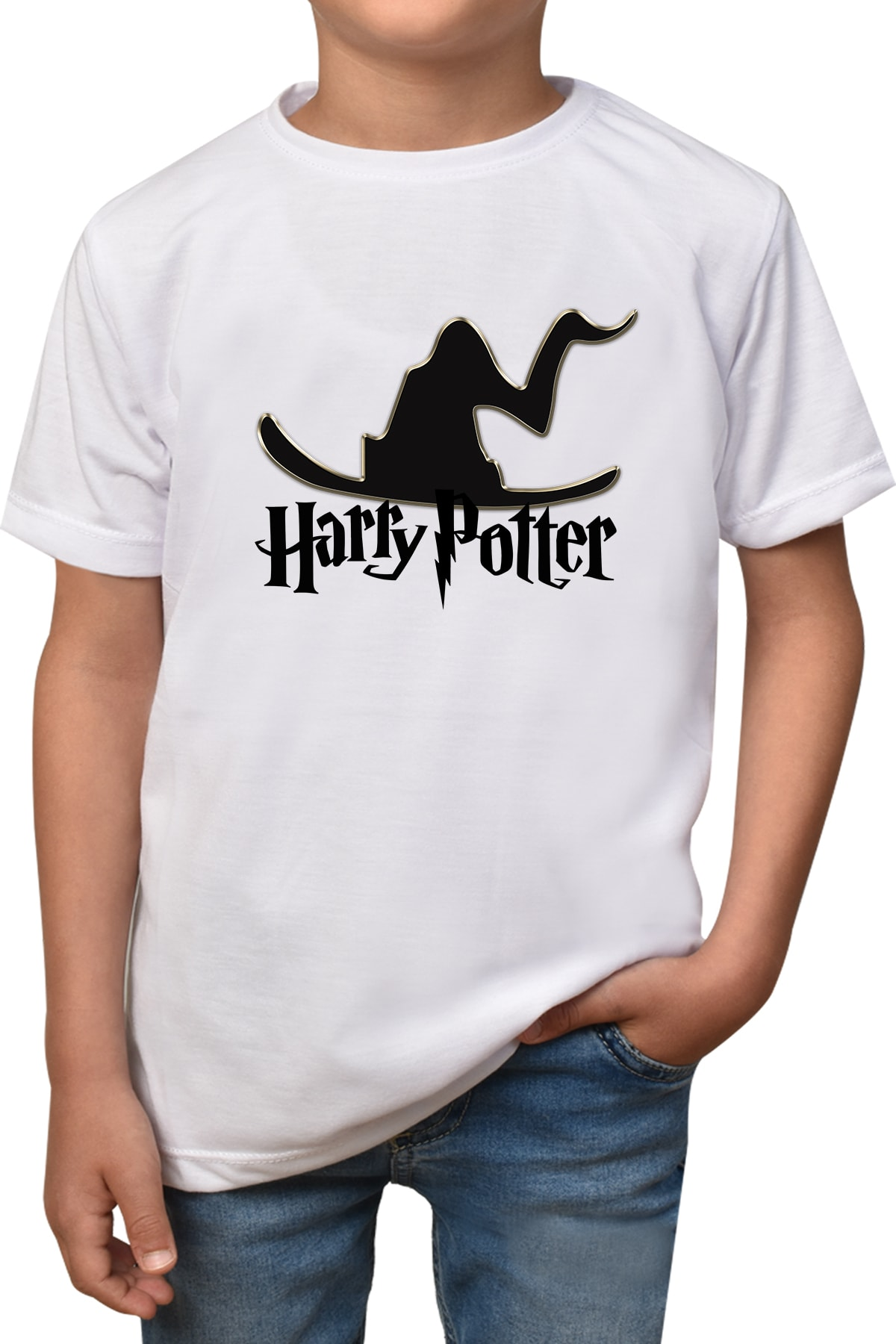 Erkek-kız Çocuk  Beyaz Harry Potter T-shirt T-83