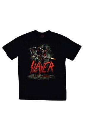 fame-stoned Unisex Siyah Slayer Baskılı T-shirt 0