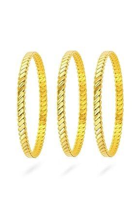 dehaberkstore Orjinal 22 Ayar Altın Kaplama Burma Bilezik 6,6 Cm (3 Lü Set) 0