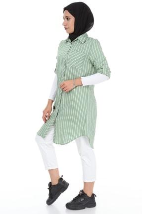 heradise Kadın Çağla Yeşili Uzun Çizgili Tunik - 5136 3