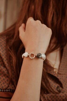 Linya Jewellery Kadın Altın Kalpli Onıx  Inci Bileklik 1