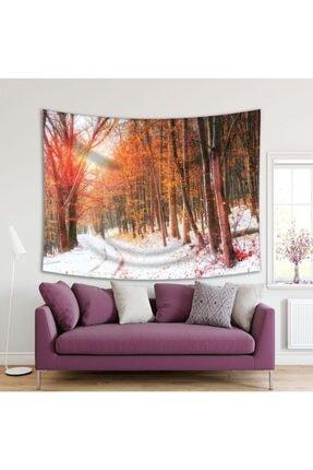 Henge Home Sonbahar Kış Orman Ağaç Manzaralı Duvar Perdesi - Duvar Örtüsü 0