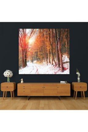 Henge Home Sonbahar Kış Orman Ağaç Manzaralı Duvar Perdesi - Duvar Örtüsü 4