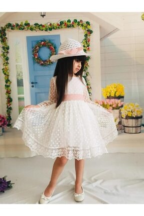 Mixie Ekru Şapkalı Tüllü Güpür Detaylı Kız Çocuk Elbisesi 2