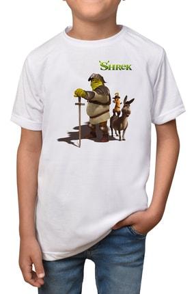 GiftStore Shrek- Beyaz Çocuk - Yetişkin Unisex T-shirt T-8 0