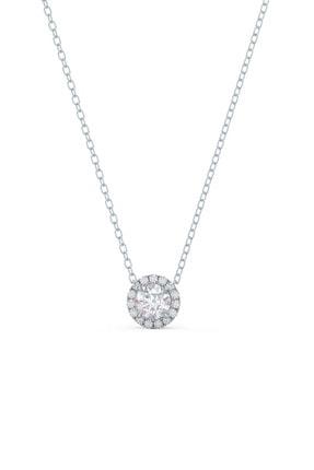Crystal Diamond Zirconia Işıklı Kutuda Labaratuvar Pırlantası 0.30 Carat Tektaş Kolye 0