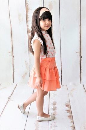 MARCHİO&MİO Kız Çocuk Pembe Kalpli Gömlek Etek Takım 1