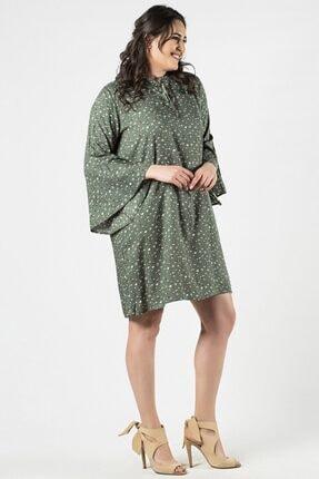Womenice Kadın Haki Büyük Beden  Çiçek Desenli Yaka Bağlamalı Elbise 1