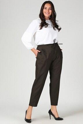 Womenice Kadın Haki Büyük Beden Beli Lastikli Havuç Pantolon 1