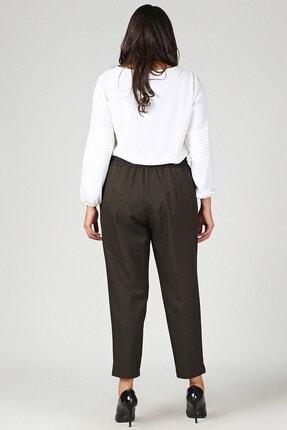 Womenice Kadın Haki Büyük Beden Beli Lastikli Havuç Pantolon 2