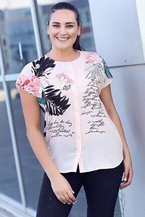 Womenice Kadın Büyük Beden Pudra Çiçek Baskılı Kobe Krep Gömlek 1