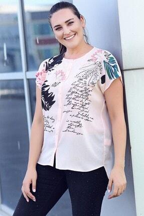 Womenice Kadın Büyük Beden Pudra Çiçek Baskılı Kobe Krep Gömlek 2