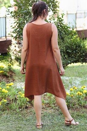 Womenice Kadın KiremitBüyük Beden  V Yaka Mendil Elbise 3