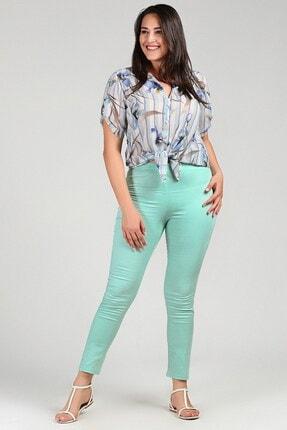 Womenice Kadın Turkuaz Büyük Beden Beli Lastikli Cepsiz Pantolon 1