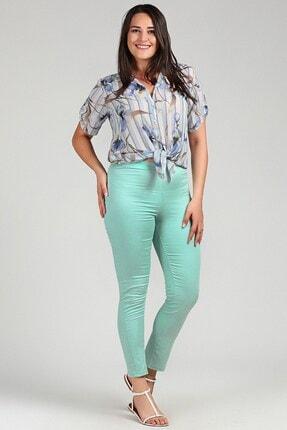 Womenice Kadın Turkuaz Büyük Beden Beli Lastikli Cepsiz Pantolon 2