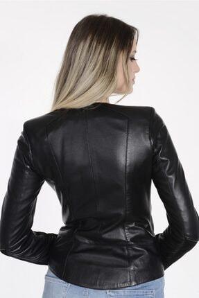 Vira Deri Kürk Kadın Siyah Vira  Deri Ceket Zg1017 3