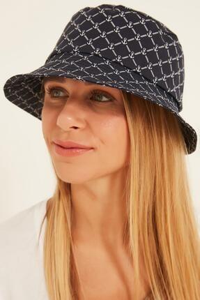 Y-London 13381 Büyük Çapa Desenli Lacivert Bucket Şapka 1