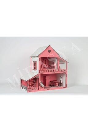 TURKAFONE Ahşap Barbi Oyun Çocuk Evi - 19 Parça Oyuncak 45cm (pembe) 1