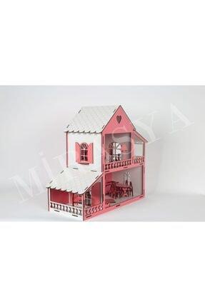TURKAFONE Ahşap Barbi Oyun Çocuk Evi - 19 Parça Oyuncak 45cm (pembe) 3