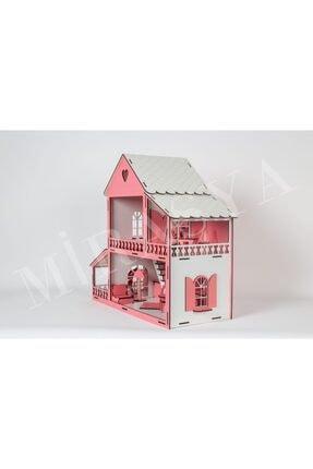 TURKAFONE Ahşap Barbi Oyun Çocuk Evi - 19 Parça Oyuncak 45cm (pembe) 4