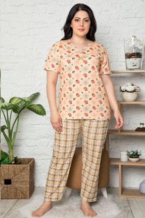 İzolli Kadın Turuncu Büyük Beden Kısa Kol Pijama Takım 0
