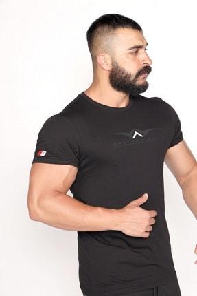 BESSA Bisiklet Yaka Süprem Kumaş Fosfor Baskı Detaylı Siyah T-shirt 2