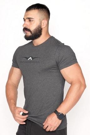 Bessa Sport Bisiklet Yaka Süprem Kumaş Fosfor Baskı Detaylı Antrasit T-shirt 2