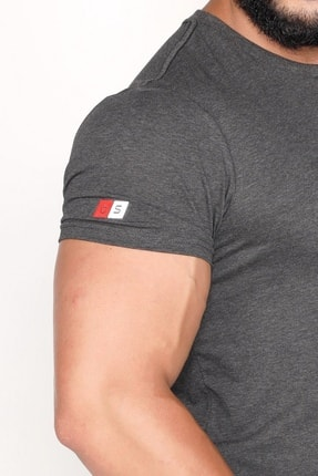 Bessa Sport Bisiklet Yaka Süprem Kumaş Fosfor Baskı Detaylı Antrasit T-shirt 3
