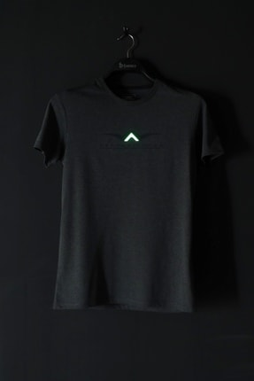 Bessa Sport Bisiklet Yaka Süprem Kumaş Fosfor Baskı Detaylı Antrasit T-shirt 4