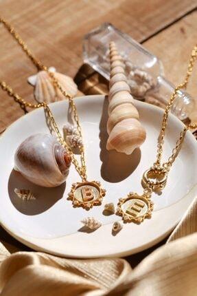 Linya Jewellery Kadın Altın B Harf Taşlı Düz Zincirli Madalyon 1